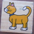 Rubber Stamp Cat Kitten Mounted Wood Animal 2.5x2.5