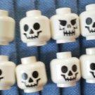 Lego Heads for Minifig Skull Lot 8 White