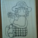 DOTS Sarah Girl Rubber Stamp N203 Wood Mounted Clean D.O.T.S. Child Flower