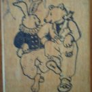 Bunny Bear Rubber Stamp All Night Media Wood Mounted Mary Engelbreit Hare Rabbit