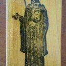 Vintage Wizard Rubber Stamp Standing Sorcerer Warlock Wood Mount Magician
