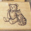 Rubber Stamp 1985 Hero Arts Bear and Cat Vintage Wood Mounted Teddy