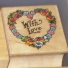 Rubber Stamp 1990 All Night Media With Love Heart Wreath Flowers Valentines