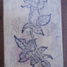 Rubber Stamp Rose Flower PSX 1988 Mounted F970 Stem