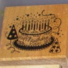 1988 PSX Rubber Stamp Happy Birthday Cake E154 WM