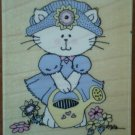 Sabrina The Cat Rubber Stamp Stampede A872D Wood Mounted Watering Garden