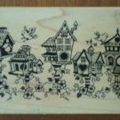 Rubber Stamp Bird House Birdhouse Village PSX G1336 Wood Mounted