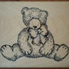 Rubber Stamp Teddy Bear TRL Design Q239 Wood Mounted Unused