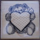 Rubber Stamp Teddy Bear Heart Annette Allen Watkins 1994 F504 Mounted
