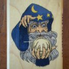 Wizard With Crystal Ball Rubber Stamp Comotion 644 Wood Mount Sorcerer 1993