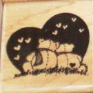 Stampendous Rubber Stamp The Bear End C19 1989 hearts