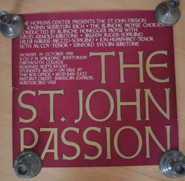 The St John Passion Vintage Poster Hopkins Center NH 1981