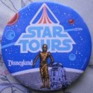 Disneyland Star Tours Wars Pin 1986 Disney R2D2 C3P0 Button