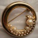 Gold Tone Rhinestone Faux Pearl Pin Brooch Broach Circle