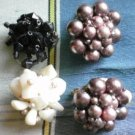 Single Craft Vintage Cluster Bead Earrings Japan Junk Lot