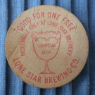 Lone Star Brewing Co San Antonio Texas Wooden Nickel Vintage Buckhorn Hall Horns