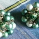 Vintage Cluster Bead Clip On Earrings Japan Green