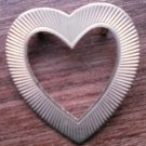 Gold Tone Heart Pin Brooch Vintage Broach