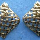 Vintage Goldtone Metal Clip Earrings Weave Mesh