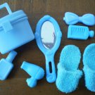 Barbie Blue Bedroom Vanity Lot Accessories Slippers Mirror Bottle Hair Dryer Bag