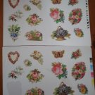 Vintage Stickers Victorian Bouquet Flowers Butterfly Heart 24pc