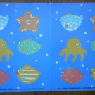 Oceans of Fun Stickers Fish Starfish Octopus 1990 Current 14829-0 12 stickers