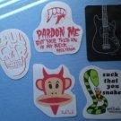 Paul Frank Stickers Decals Lot 5 monkey Snake Skull Guitar