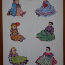 Vintage Doll Stickers 2 sheets Dennison Manufacturing Co 80-998 12 stickers