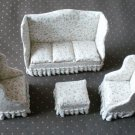 Sofa Chairs Ottoman Lot Dollhouse Miniature Doll Furniture