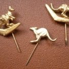 Kangaroo Pin Stick Lot 3 Gold Tone Boomerang vintage