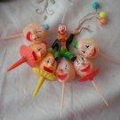 Clown Cake Topper Pick Decorating Vintage Plastic Lot 7 Balloons Hong Kong