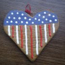 Red white and blue heart ornament LCC American Cookie