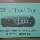White House Tour 7 Ticket Stub Blue Vintage Ellipse 1970s