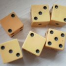 Lot 6 Small Plastic Dice Bakelite Vintage Die 1cm Tan