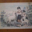 Boston and Meriden sheep girls Vintage Trading Trade card