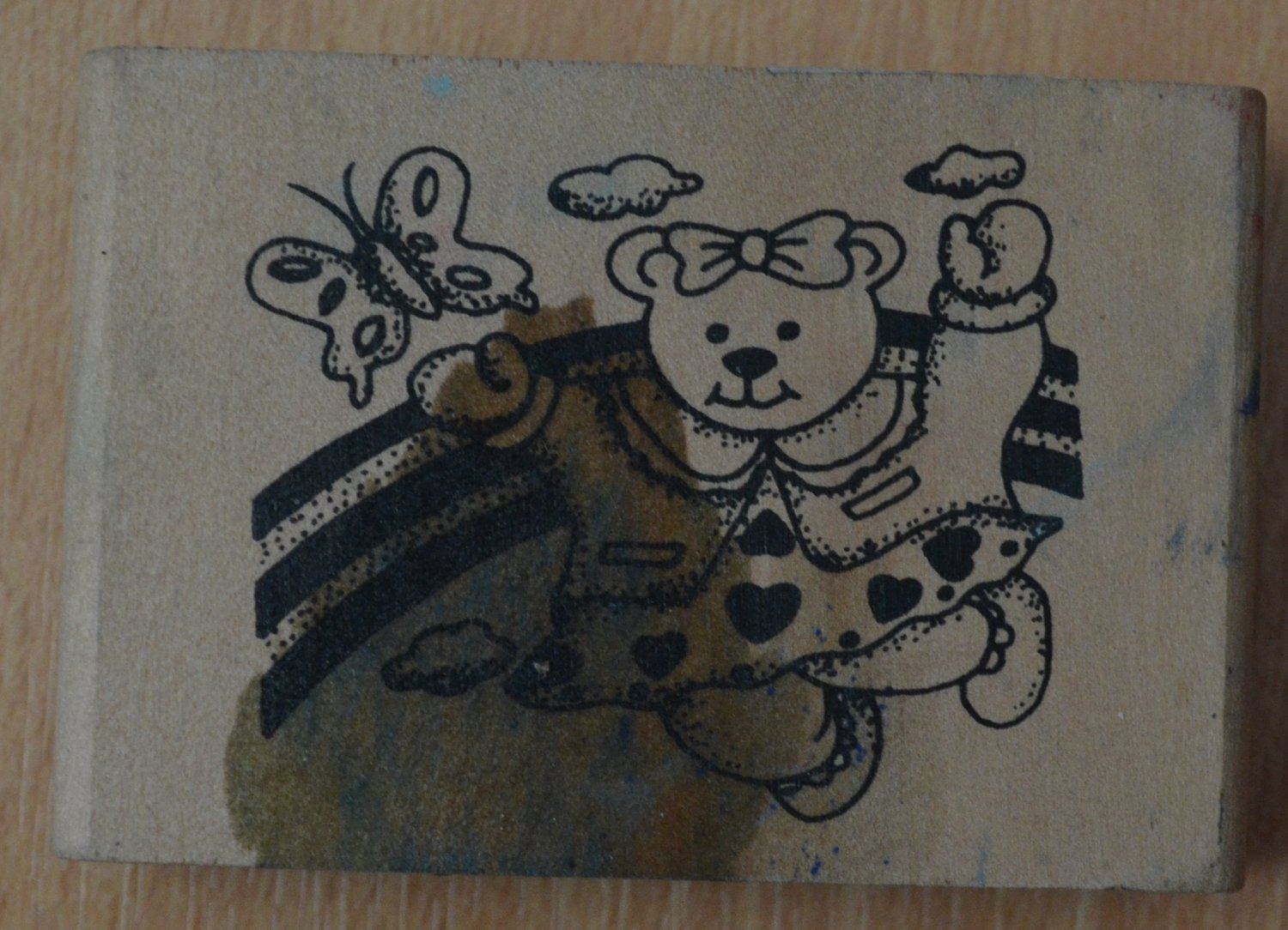 Rubber Stamp Teddy Bear Butterfly Rainbow Wood Mounted