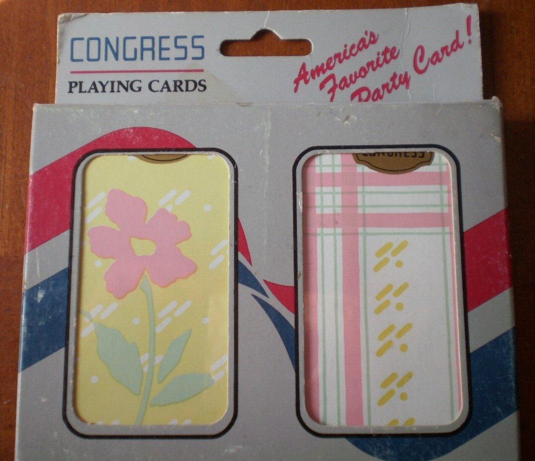 Congress Playing Cards Vintage Flower Lines Plastic Coated 2 decks NOS Floral