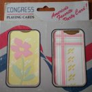 Congress Playing Cards Vintage Flower Lines Plastic Coated 2 decks NOS Floral