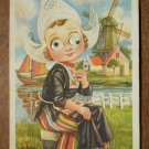 Holland Postcard Googly Eyes Dutch Girl Windmill 1955 Netherlands Dutch