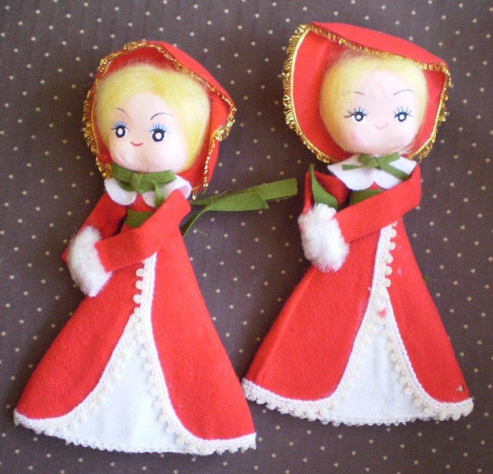 Victorian Dolls Japan Felt Christmas Vintage Carolers Red Decor