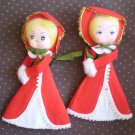 Victorian Dolls Japan Felt Christmas Vintage Carolers Red Decor