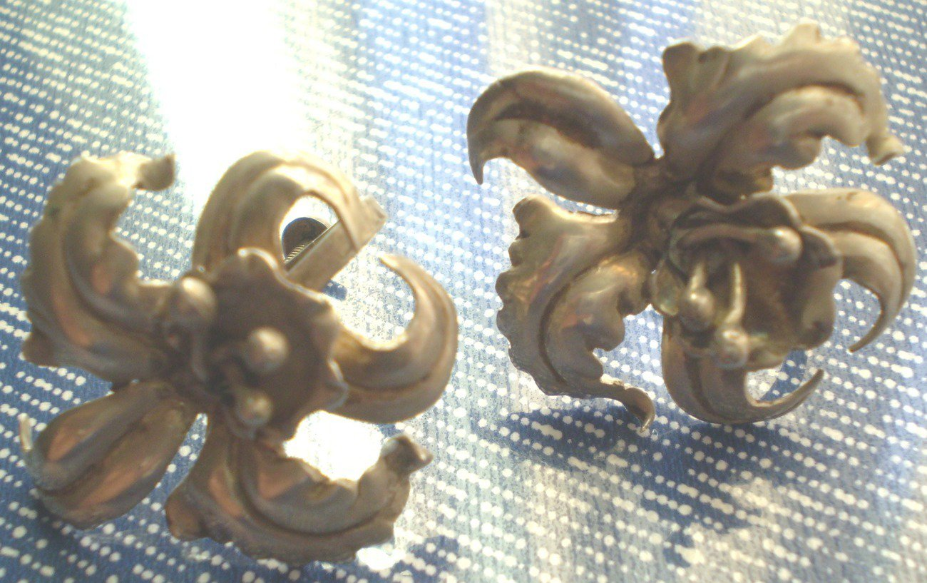 Vintage Silver Orchid Flower Screw Back Earrings Mexico