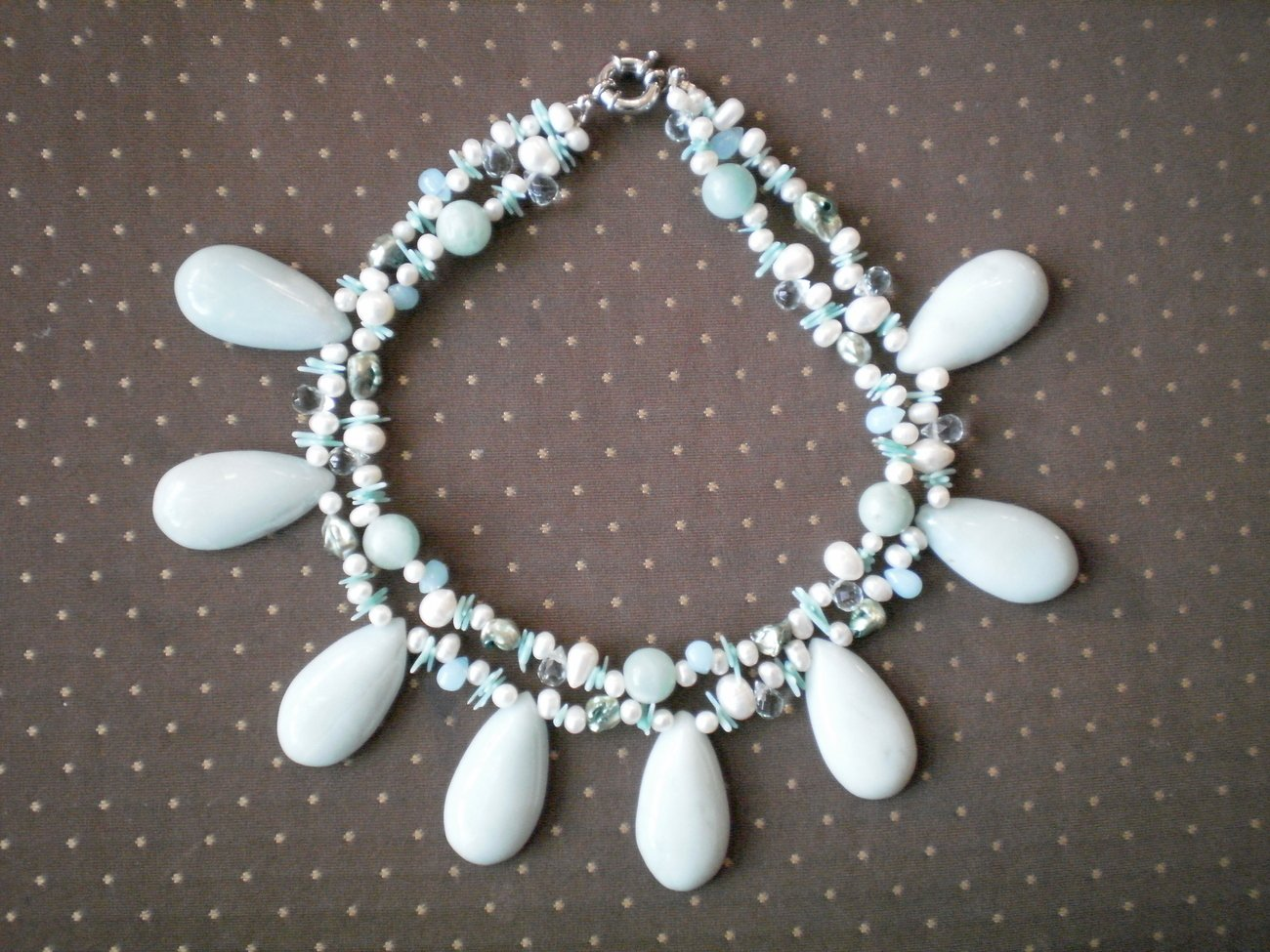 Freshwater Pearl Bead Double Strand Necklace Blue Stone Chunky
