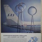 SAS Selbing Glass Scandinavian Airlines Vintage Ad 1963