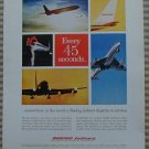 Boeing Jetliners Every 45 Seconds Vintage Ad 1963