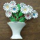 Vintage Enamel Pin Brooch Flower Pot Vase Daisy White Rhinestones Bouquet