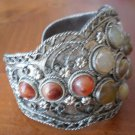 Cuff Bracelet Silvertone Metal Real Stones Wide Vintage Flowers Bangle