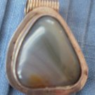 Sterling Silver Pendant Gray Stone Triangular Mexico 925 Vintage