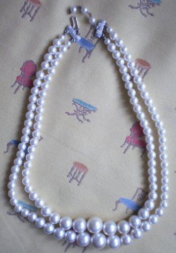 Faux Pearl Necklace Graduated Double Strand Japan Vintage