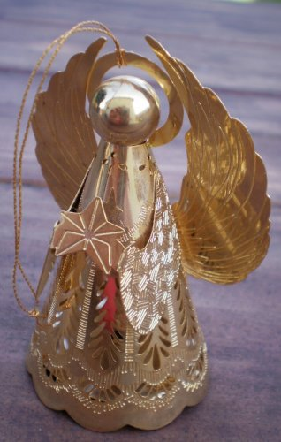 Hallmark Angel Heavenly Glow Brass Goldtone Metal 1988 Ornament QLX7114